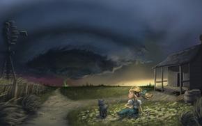 Картинка ветер, собака, девочка