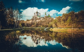 Картинка синий, парк, отражение, Собор, церковь, киев, феофания