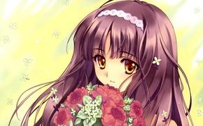 Картинка цветы, букет, девочка, аниме. арт