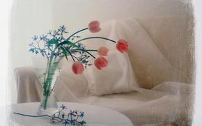 Обои цветы, фото, диван, обработка, букет, тюльпаны, подушка, ваза