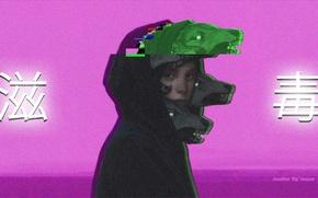Картинка девушка, аниме, sad, китайский, Vaporwave, Glitch