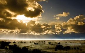 Картинка Небо, Горизонт, Солнце. Лучи