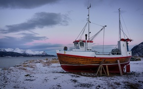 Картинка зима, горы, Норвегия, баркас, Norway, фьорд, Reisafjorden, Troms Fylke, Sorkjosen