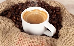 Картинка пена, кофе, зерна, пар, мешок
