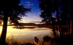 Обои деревья, озеро, Лодка, закат