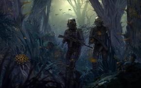 Обои Джунгли, Выжившие, Оружие, Взгляд, Маска, Свет, Апокалипсис, Areal, West Games, Экипировка, Ситуация