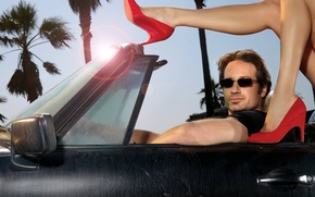 Обои машина, туфли, Hank Moody, californication