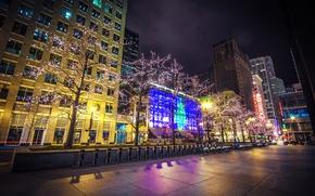 Картинка деревья, ночь, город, огни, здания, дома, небоскребы, Чикаго, парковка, USA, США, Иллинойс, гирлянды, Chicago, Illinois, …