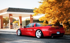 Картинка осень, свет, деревья, Honda, красная, NSX