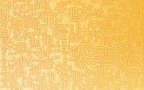Обои фон, золото, текстура, иероглифы