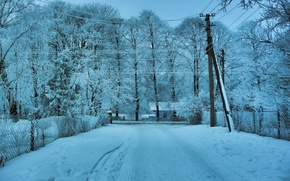 Картинка зима, дорога, снег, деревья, пейзаж, провода