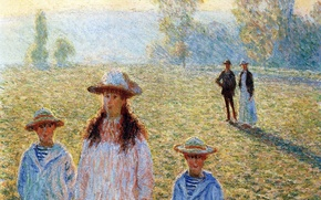 Обои Клод Моне, жанровая, люди, картина, Пейзаж в Живерни