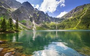 Картинка лес, горы, природа, горное озеро