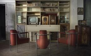 Картинка радио, телевизор, кресла