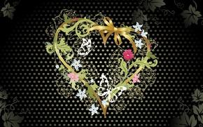 Обои черное, цветочки, сердце