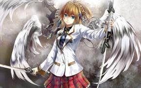 Картинка девушка, оружие, механизм, крылья, ангел, меч, арт, форма, kouji