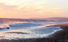 Картинка море, волны, закат, корабли, черное море, красивые места, берег моря, веселовка, темрюкский район