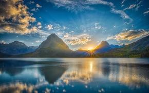 Обои горы, озеро, природа, пейзаж, небо