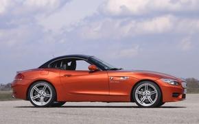 Картинка Roadster, Авто, BMW, Колеса, Машина, Бумер, Кабриолет, БМВ, Оранжевый, Купэ, Вид сбоку