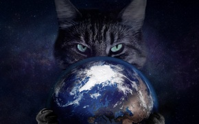 Картинка Кошка, Космос, Глаза, Когти, Планета Земля, Порабощение