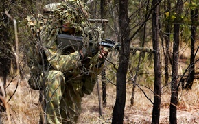 Картинка forest, soldier, camouflage, australian army sniper