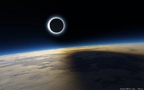 Картинка Солнце, Луна, Пустыня, Космос, Земля, Тень, Затмение, Солнечное затмение, Эклипс