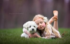 Обои девочка, собака, фон