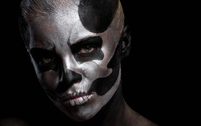 Картинка skull, eyes, model, makeup