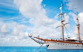 Картинка Облака, Море, Корабль, Парусник, Голубой