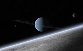 Картинка звезды, планета, кольца, атмосфера, спутники, газовый гигант
