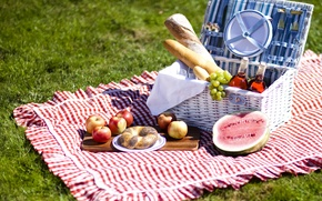 Картинка вино, яблоки, еда, арбуз, хлеб, виноград, фрукты, пикник, батоны