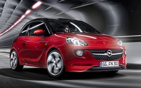 Картинка красный, фон, Опель, Opel, Адам, Vauxhall, передок, Adam, хетчбек, Воксхол, Slam