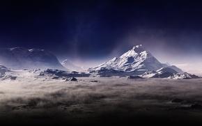Картинка горы, туман, пыль, арт, дымка, Тьма