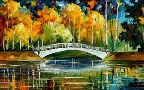 Обои мост, White Bride new Oil, картина маслом, осень