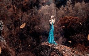 Картинка листья, девушка, ветер, платье, Alessandro Di Cicco, Ray Of Light