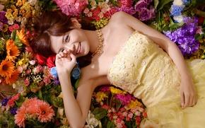 Картинка цветы, девушка, азиатка