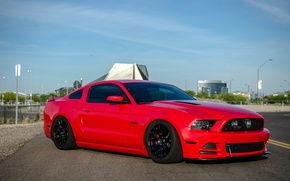 Картинка mustang, red, wheels, ford, black