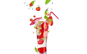 Картинка лед, брызги, Коктейль, ice, листики, leaves, фрукты и ягоды на белом фоне, fruit and berries …