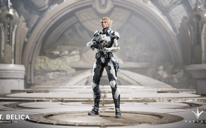 Картинка Microsoft, gun, game, weapon, blonde, rifle, PlayStation 4, PS4, Epic Games, Paragon, PC, Belica, LT. …