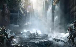 Обои Небо, Оружие, Туман, Свет, Облака, Люди, Респиратор, Зима, Город, Tom Clancy's The Division, Экипировка, Ситуация, ...