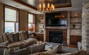 Обои гостиная, диван, люстра, плазма, камин, дизайн