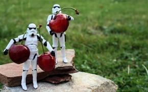 Картинка макро, вишня, игрушки, звездные войны, lego, черешня, витамины, лего, toys, star war, штурмовики