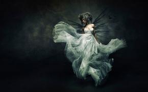Картинка девушка, платье, арт, Flying bride