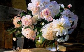 Картинка цветы, букет, арт, книга, ваза, пионы
