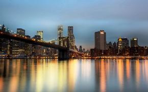 Картинка город, Нью-Йорк, небоскребы, вечер, USA, Бруклинский мост, NYC, New York City, Brooklyn Bridge, East River, …