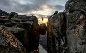 Картинка закат, Норвегия, Kjeragbolten