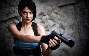 Картинка взгляд, девушка, оружие, Resident Evil, cosplay, Jill Valentine