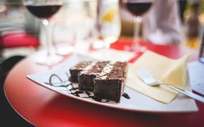 Картинка шоколад, тарелка, пирожное, сладкое