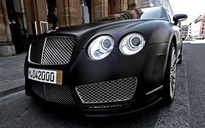Обои черный, Bentley, матовый, continental, black, mansory, matt, front, street, бентли, континенталь, мансори