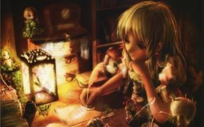 Картинка письмо, комната, часы, книги, куклы, чайник, девочка, фонарь, сидит, art, Miyai Haruki
